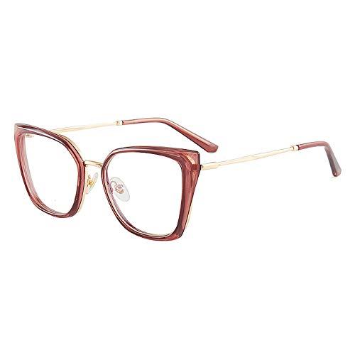 JJZXT Cómodo Y Fuerte Marco Metal Eyewear, Superligero Montura Gafas Cuadradas Ovalada, Moda Sencillez Montura Gafas De Media Marcos, for Damas, Hombres,Rosado