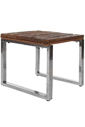elbmöbel Couchtisch Metall Gestell braun Tisch Beistelltisch Holz massiv Urban Massivholz