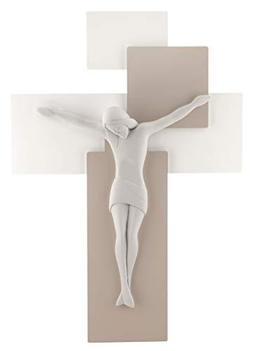 Piccolo CROCIFISSO Croce da Parete Moderno 17X12 Legno Tortora Bianco Cristo ME12101NB