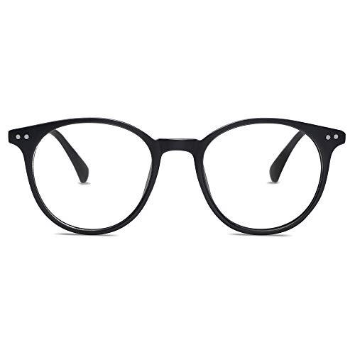 SOJOS Brille mit Blaulichtfilter Blockieren Blaue Licht von PC, TV und Handy ohne Sehstärke Kleine für Schmales Gesicht SJ2113 mit Schwarzer Rahmen/Anti-blue Light Linse