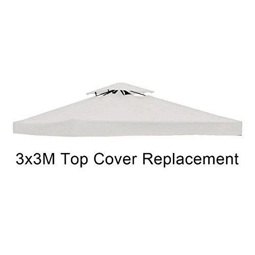 CASART. 2-Tiers Gazebo Top Cover, 3X3M Canopy Tent Marquee Pavilion Roof Replacement for Outdoor Garden Patio (Beige)