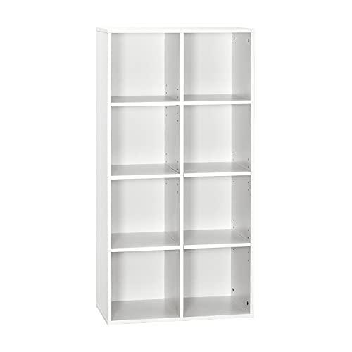 Meerveil Libreria Scaffale, Scaffale Cubico Mobiletto Armadietto Mobile in Legno 4 Ripiani 8 Scompartimenti Bianco per Soggiorno Cameretta Ufficio