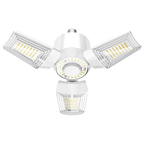 LED Garage Light 60W 3 Leaf Garage Lights Ceiling LED 6480 Lumen 5000K Deformable Adjustable Trilights Garage Ceiling Light for Indoor Area Lighting ELT Listed (NO Sensor)