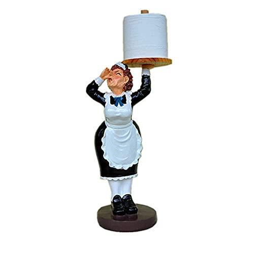 NHLBD LIJIANZI Worth Having - Resina Creativa Maid Sculpture Papel Toaller Holder and Dispenser, Decor Artesanía Adorno de Accesorios, Organizador de Papel higiénico para Cocina, Baño