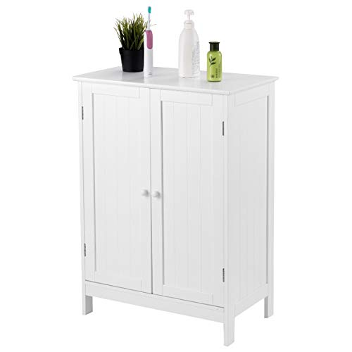 COSTWAY Badezimmerschrank Kommode Sideboard Badschrank Verstellbarer Einlegeboden Schrank Badezimmer Aufbewahrungsschrank, weiß