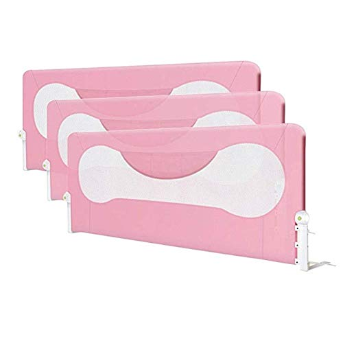 New DQMSB Bed Guardrail with Ventilation Net Safety Bed Guardrail (Color : Pink, Size : 1.8m+2m+2m)