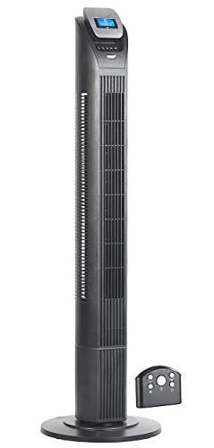 Sichler Haushaltsgeräte Säulenventilator: 3-stufiger Design-Turmventilator mit Ionisator, 75°-Oszillation, 50 W (Turmventilator mit Fernbedienung)
