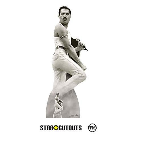 Star Cutouts Ltd CS850 Lebensgroße Pappfigur Freddie Mercury 1985 Live Aid mit kostenlosem Desktop Stand-up Aufsteller perfekt für Fans, Partys, Sammler und Events, mehrfarbig