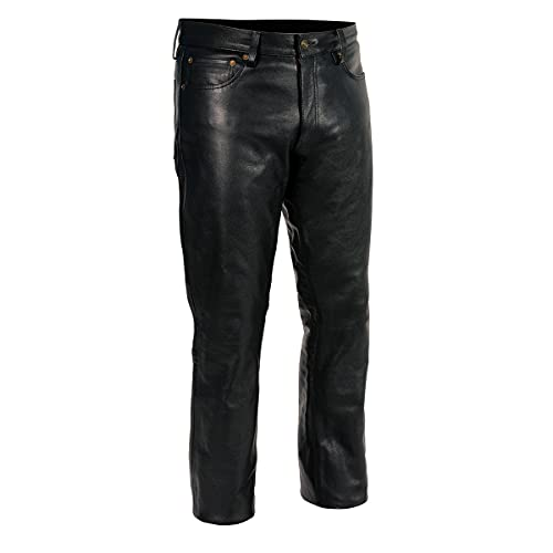 Milwaukee Leather LKM5790 Men's Black Classic 5 Pocket Leather Pants - 34