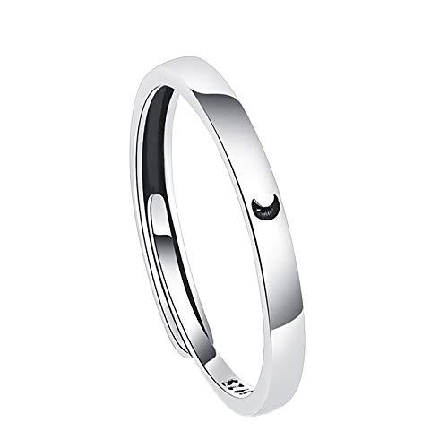 minjiSF SliberF, 6 x 4 x 2 mm, diseño de sol y luna, anillo de amistad, anillo para mujer, anillo de boda, anillo para el dedo