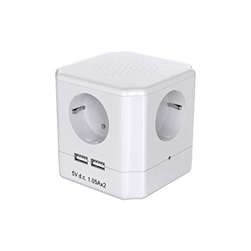 Garza Power - Base múltiple Cubo de 4 tomas Schuko con Interruptor + 2 Conexiones USB, cable 1.5mm x 1.5 metros, color Blanco