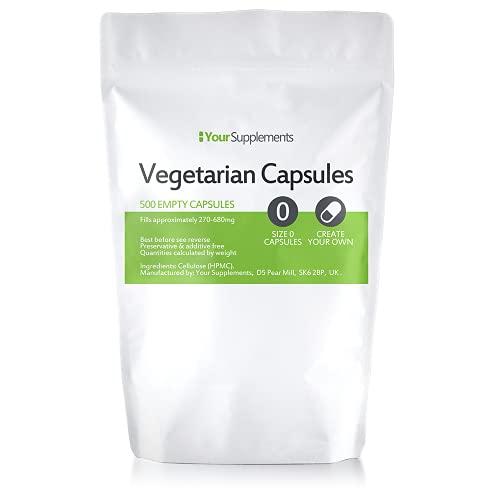 Your Supplements Vegane Leerkapseln Gr. 0 , 500 Stück - leere kapseln zum Befüllen Transparent Vegetarische