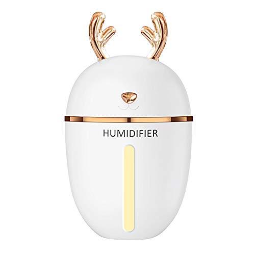 Katyma Cute Deer Luftbefeuchter 450ML Air Humidifier USB Aroma Diffusor LED Nachtlicht mit Ladegerät für Auto, Babyzimmer, Zuhause, Reisen