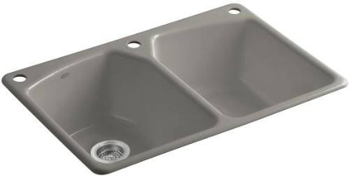 Kohler K-6491-3-K4 Tanager Self-Rimming Kitchen Sink with Single-Hole Faucet Drilling and Two Accessory Holes, Cashmere