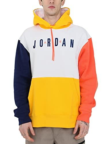 Nike Air Jordan Felpa Uomo con Cappuccio Bianca Blu e Gialla CW8434-100