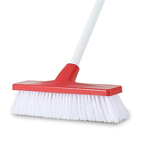 Akoma Push Broom with Stiff Bristles and Long Handle Deck Scrub Brush for Cleaning Bathroom Shower Tile Floor Driveway Garage Patio Carpet Outdoor Scrubber Brushes