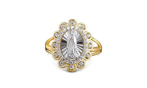 Savlano 18K Yellow & White Gold Plated Oval Lady of Guadalupe Virgin Mary with Round Cut Cubic Zirconia Women's Girl's Religious Floral Ring Comes With Gift Box (6)