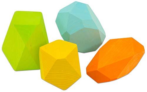 Bauset Edelsteine, 4-TLG - Bausteine aus hochwertigem Holz, Bunte Bauklötze zum Stapeln und Bauen