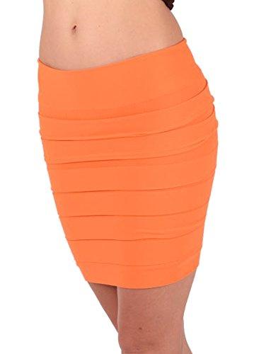 jowiha Stretch Minirock oder Bandeau Top 2 in 1 mit Breiten Lamellen Orange S-L