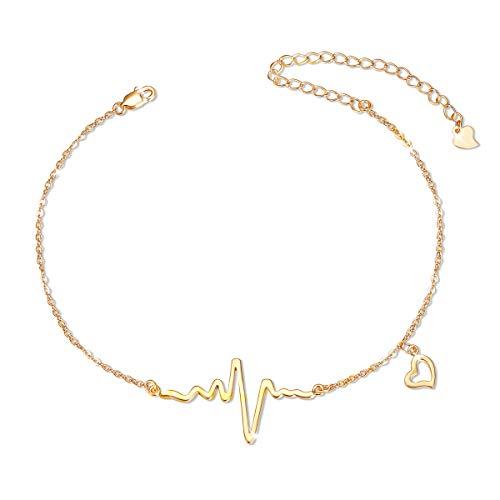 SHEGRACE Colgante para Mujer con Colgante Heartbeat en Plata de Ley 925 Chapada en Platino, Oro Rosa, Tobillera Chapada en Oro, Ajustable, 210 + 80 mm
