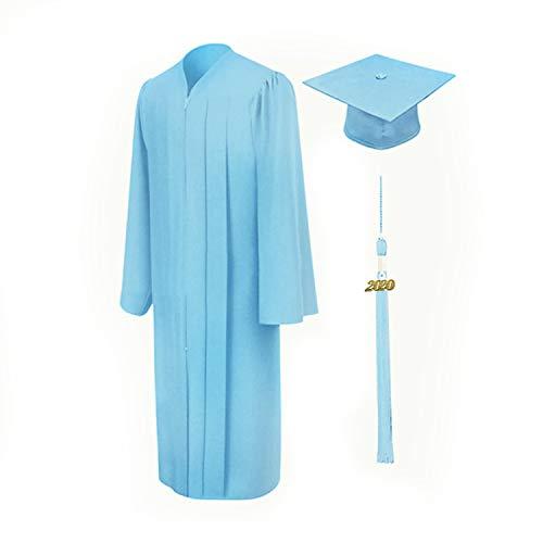 Vertvie Unisex Robe Akademischer Talar Doktorhut groß Größen Umhang für Abschlussfeiern Abschluss College Kleider für Erwachsene Studenten (Übergröße-himmelblau, 48)