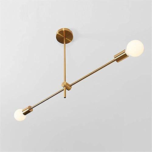 ® Sputnik hanglamp Nordic modern, verstelbaar, van messing met roterende verlichting voor woonkamer, slaapkamer, met E27 goud (lampen niet inbegrepen), 2 parels