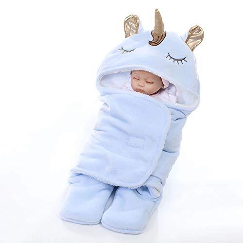 Mrzyzy Neue Winter Doppelschicht Flanell Einhorn Decke, Dicke warme Babydecke (geeignet für 0-12 Monate),Blau