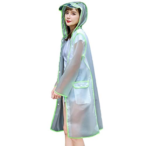 Impermeable transparente, reutilizable y transparente, poncho apretado con gorra y manga para mujeres y adultos (color: negro, tamaño: XL)