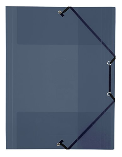 Viquel - Chemises plastique A4 avec rabats - Pochettes transparentes fermeture à élastique - Rangement documents A4 - Gris translucide