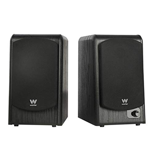 Woxter Dynamic Line DL-610 Black - Altavoces de estantería terminados en Madera autoamplificados (20 RMS 180 W, Bluetooth, conexión de 3,5mm, PC, TV, Tablets, Smartphones, mp3.)