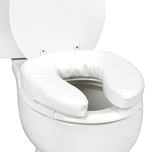 DMI Raised Toilet Seat Toilet, Toilet Seat Riser, Seat Cushion and Toilet Seat Cover to Add Extra Padding to the Toilet Seat while Relieving Pressure, 2 Inch Pad, White