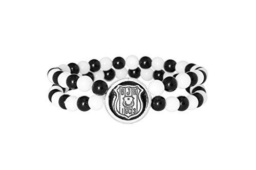 Gök-Türk Stretcharmband Besiktas BJK für Fußballfans - schwarz-weiße Perlen