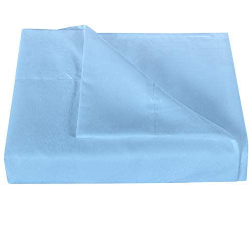 NTBAY Microfiber Queen Bedding Flat Sheet, Ultra Soft and Wrinkle, Fade, Stain Resistant Top Sheet, Sky Blue