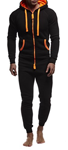 Leif Nelson Herren Overall Jumpsuit Onesie Trainingsanzug Jogginghose Trainings T-Shirt Fitness Stringer Bekleidung LN8154; Größe M; Schwarz-Orange