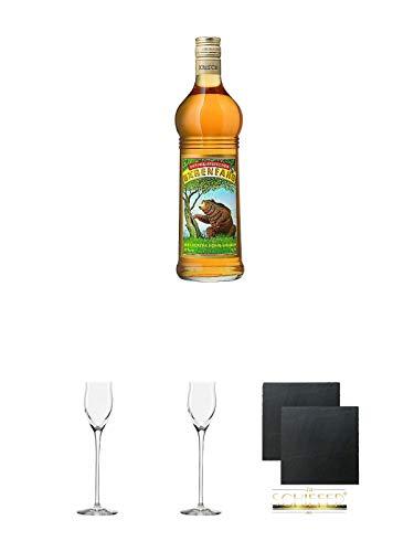 Bärenfang Honiglikör 0,7 Liter + Edelbrandglas Stölzle 2 Stück + Schiefer Glasuntersetzer 2 Stück