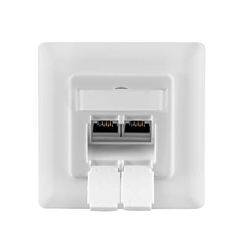 benon Netzwerkdose universal CAT 6a Ethernet - Internetdose vollständig geschirmt - RAL 9003 Signalweiß - Datendose Aufputz oder Unterputz - Ethernetdose RJ45, 500MHz, 10Gbit