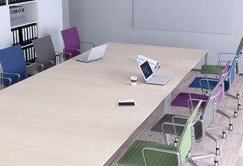Alu-Dibond-Bild 90 x 60 cm: 'Konferenztisch - Bunte Stühle', Bild auf Alu-Dibond