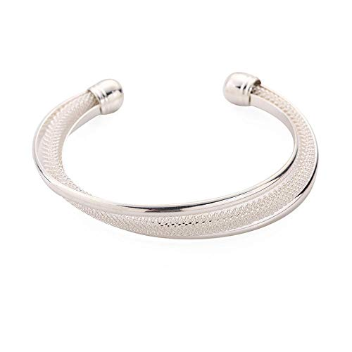 金桥S925 Silver Double Wire Mesh Bracelet Silver Plated Fashion Bangle