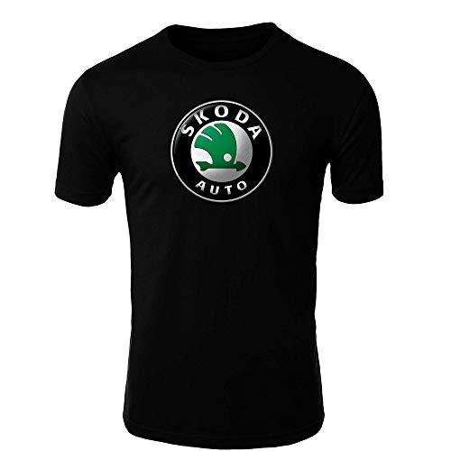 Skoda 2 T-Shirt Logo Clipart Herren CAR Auto Tee TOP Black White Short Sleeves (5XL, Black)