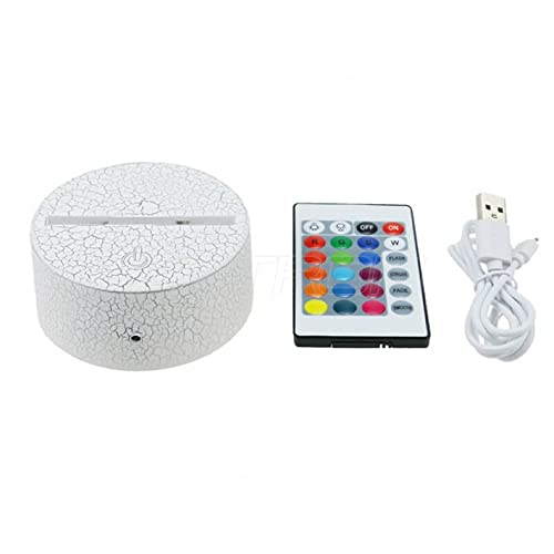 Base de lámpara LED 3D para lámpara de noche | Base LED agrietada para cristal acrílico | 16 colores con mando a distancia y cable USB