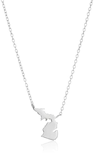 Amazon Collection Sterling Silver Stationed Mini State Michigan Pendant Necklace, 16'+2' Extender