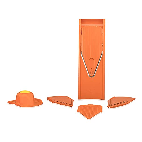 Börner Mandolina Starter Set V1 Arancione : Taglio Professionale di Frutta e Verdura con Lame in Acciaio Inox, Senza BPA