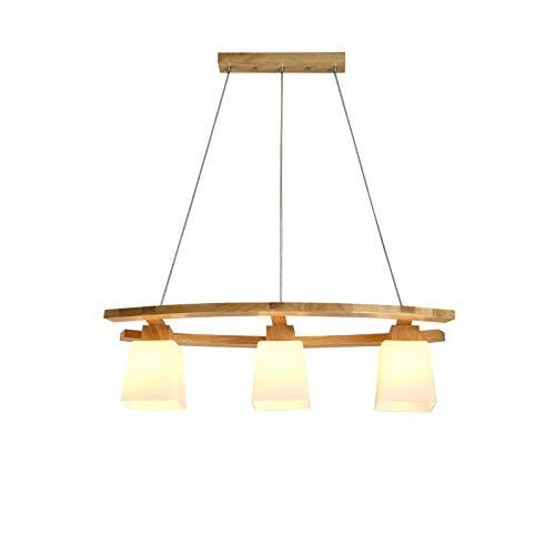 Kronleuchter aus Holz mit Glasschirm, Hängeleuchte Moderne Esszimmer Lampen, Pendelleuchte Dekoration Beleuchtung Licht, für Esstisch Küche Arbeitszimmer, E27 3 Flammig, Küchenlampe Esszimmerleuchte