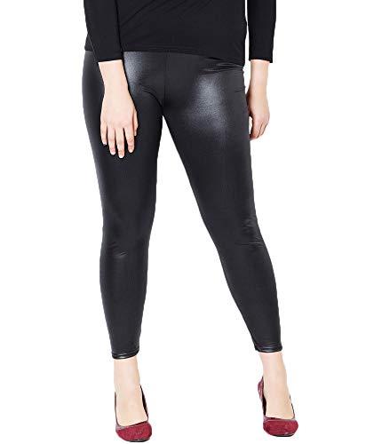 Nuofengkudu Mujer Negro Imitacion Cuero Leggings Tallas Grandes Elasticos Lisos Largos Seamless Ligeros Vintage Mallas Pantalones Casual XL