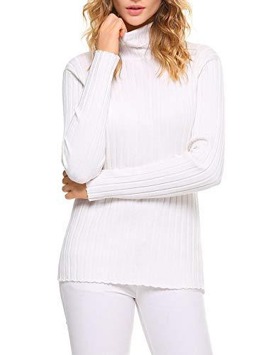 Aibrou Jersey de Cuello Alto para Mujer Sólido Ligero Suave Elástico Manga Larga Pull-Over Suéter ( Blanco , L )