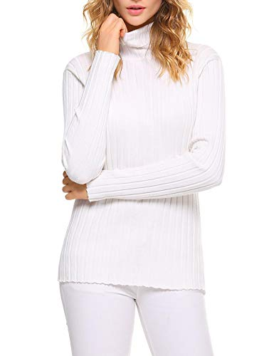 Aibrou Damen Elegant Pullover Strickwaren Rollkragenpullover Hals Langarm Ribbed Strick Pullover Tops, Weiß, S