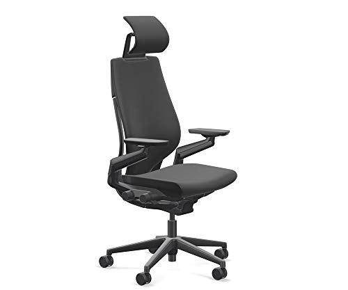 Steelcase Gesture Office Desk Chair with Headrest Plus Lumbar Support Cogent Connect Licorice 5S26 Fabric Standard Black Frame Hard Floor Soft Caster Wheels
