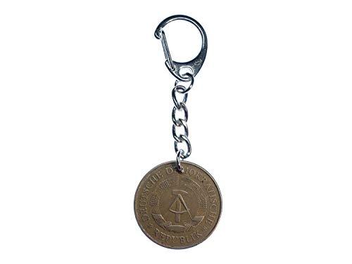 Miniblings 5 Mark DDR Münze Schlüsselanhänger echtes Geld Upcycling dunkel - Handmade Modeschmuck I I Anhänger Schlüsselring Schlüsselband Keyring
