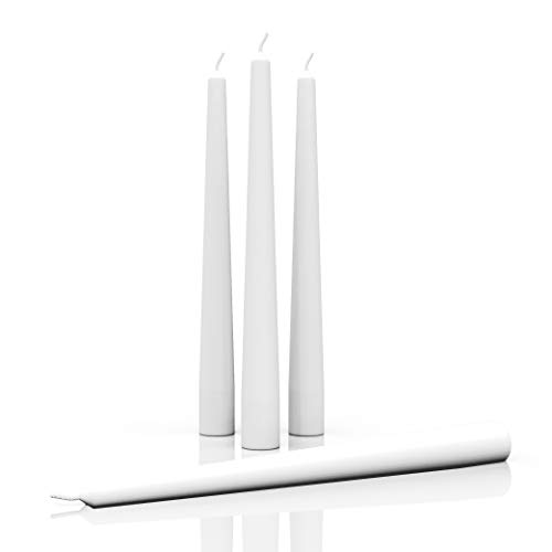 CANDWAX 10 inch Taper Candles - Dripless Taper Candles and Unscented Candlesticks - Perfect as Dinner Candles and Household Candles - White Candles 4pcs