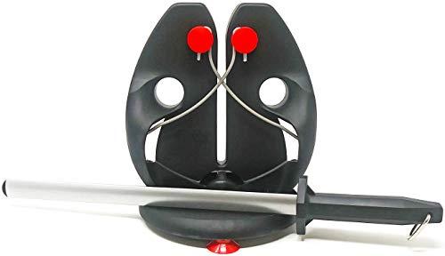 "F. Dick Rapid Steel Action Set With Bonus Diammark 12"" Oval Sharpener - Includes Rapid Steel Pull-Thru Sharpener, Improved Base and Diammark Brand Diamond Sharpener - Mad Cow Cutlery Exclusive Deal"